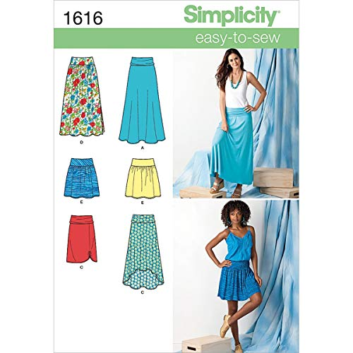 Simplicity 1616 Easy to Sew Women's Woven or Knit Skirt Sewing Patterns, Sizes 14-22