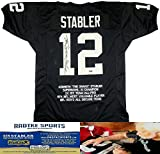 "Ken Stabler Autographed/Signed Oakland Raiders Black Custom NFL Jersey with ""Snake"" Inscription & Career Highlights Embroidery"