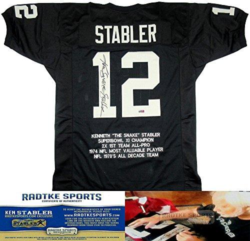 - Ken Stabler Autographed/Signed Oakland Raiders Black Custom NFL Jersey with