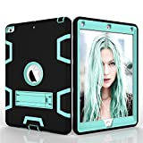 iPad Air 1st Case,Shock Absorbing Silicone and PC Full-Body Protective Case Cover with Kickstand [ Screen Protector Bonus ] for iPad Air 1st ( Model A1474 A1475 A1476 ) - Aquamarine / Black