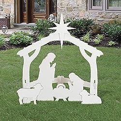 Outdoor White Nativity set