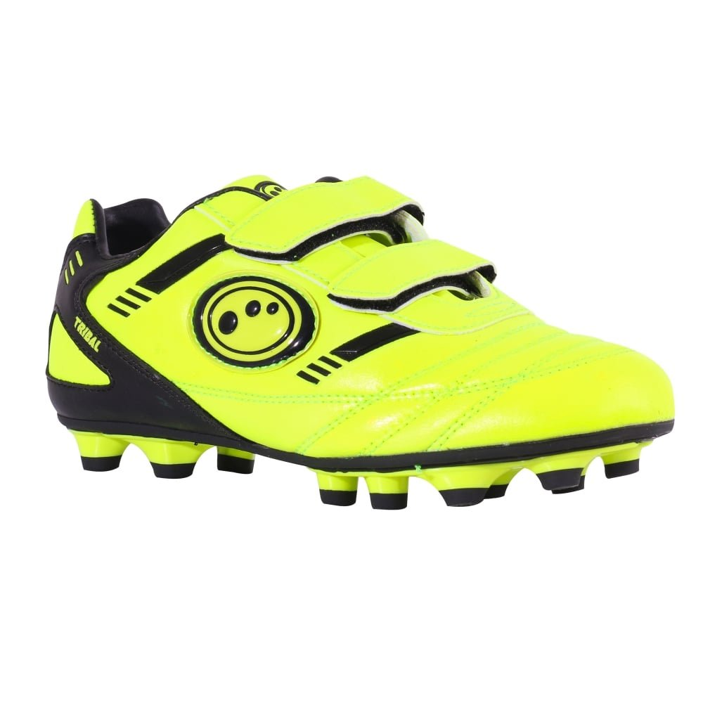 Optimum Tribal Velcro Moulded FG Kids Football Boot Fluo Yellow  Amazon.co. uk  Shoes   Bags e907347a11c