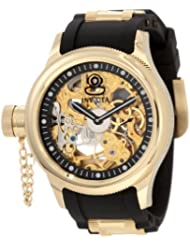 Invicta Mens 1844 Russian Diver Mechanical Gold Tone Skelton Dial Black Polyurethane Watch