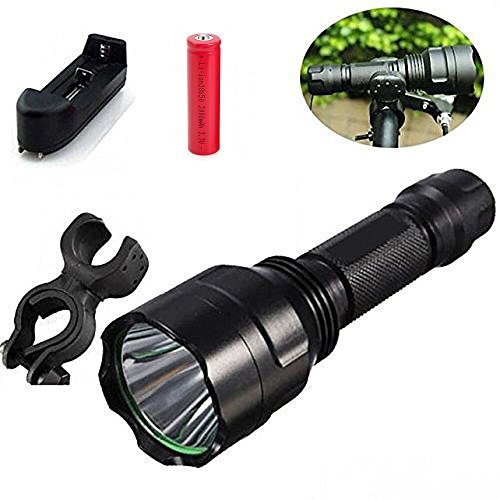 5 Modes LED Flashlight, Bicycle Front Light Headlamp, Powerful Birght XML T6 Rechargable Torch, Best Combo for Riding Cycling Camping & Indoor Activities (Flahlight+18650 Battery+Charger+Mount)