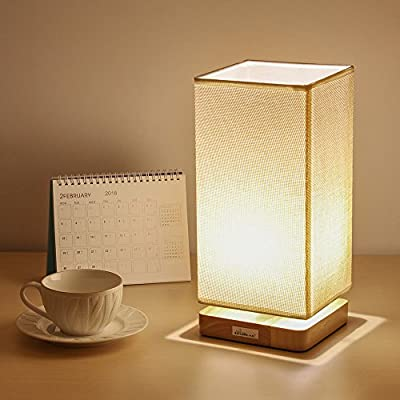 HAITRAL Bedside Table Lamp - Fabric Liner Shade Natural Wood Stand Desk Light for Bedroom