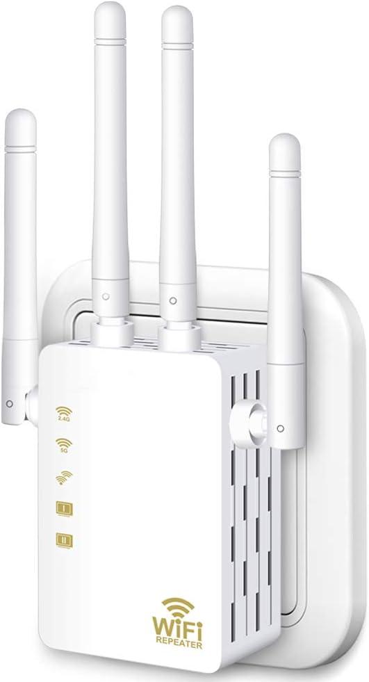 Aigital AC1200 Extensor de Red WiFi Inalámbrico, WiFi Repetidor Access Point 1200Mbps con 2 Puerto Ethernet y Doble Banda 300 Mbps en 2.4 GHz, 876 Mbps en 5GHz, 4 Antenas externas, Botón WPS
