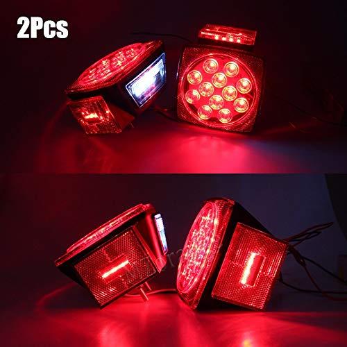 Truck Light System 2PCS 12V Submersible Square Led Trailer Light LED Stop Turn Tail License Brake Running Lamp Under 80