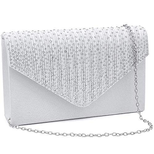 Milisente Clutch Purses for Women evening Glitter Wedding Purse Crystal Envelope Clutches Shoulder Bags (Silver)