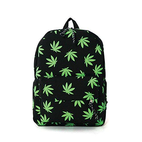 Fresh Green Palmate Leaves Printed Canvas Backpack