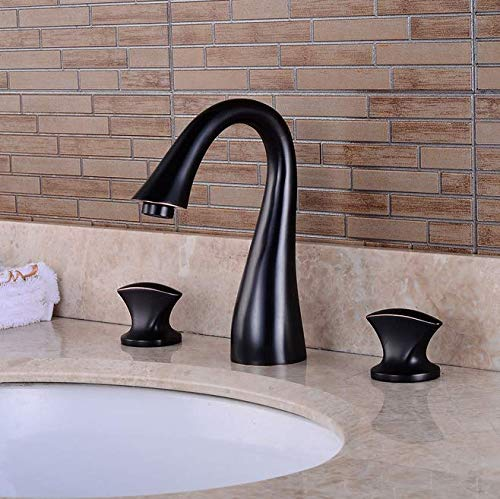 - Black Ancient Face Basin Three-hole Faucet Platform, Double Open Cold and Hot Water Faucet, Bathroom Washbasin, Three-piece Faucet Set
