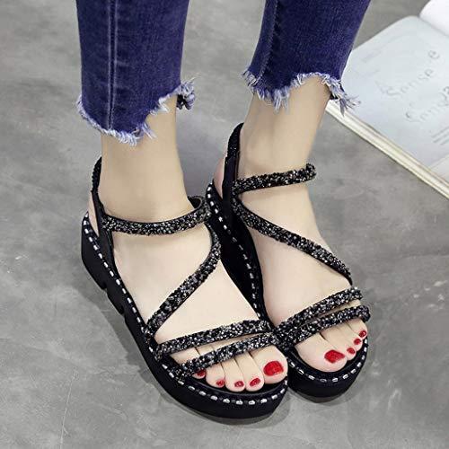 Été Élastique Épais Chaussures Simples Strass Femme Plage Sport Arrière Mode De Chic Romain Bande Sangle Guesspower Talon Noir Antidérapant Sandales nvqYwxT77R