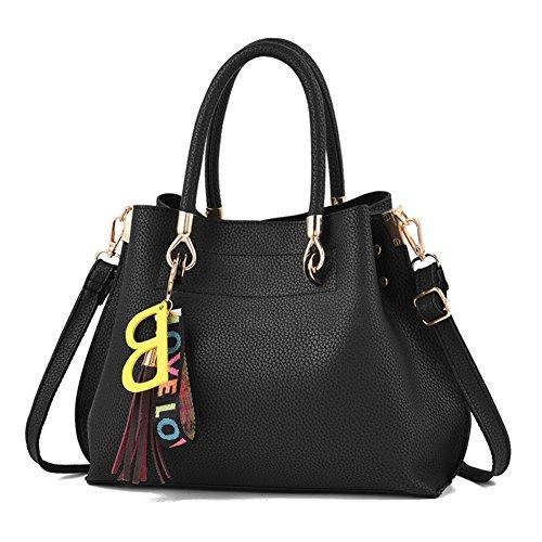Vintage Con De Bag Manico A Superiore Donna nero Hobo Borse Maniglia Nclon Nero Handbag Messenger Shoulder Pu Pelle Capacità Spalla Tracolla Grande UqXXwPE