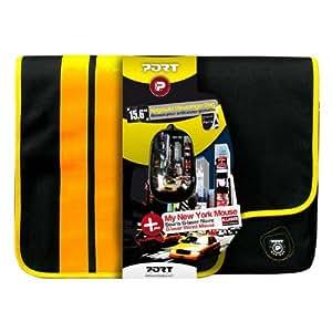 """Port 501557 - Pack de bandolera para portátil de 15.6"""" con cinta ajustable y ratón óptico, negro y amarillo"""