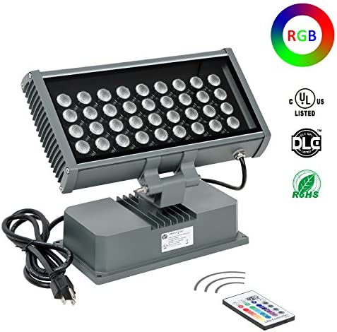 H-TEK 108W RGBW LED Wall Washer Light with RF Remote Controller, Color Changing LED Flood Light for Outdoor Indoor Lighting Projects Hotels, Resorts, Casinos, Billboards, Building Decorations, Parties