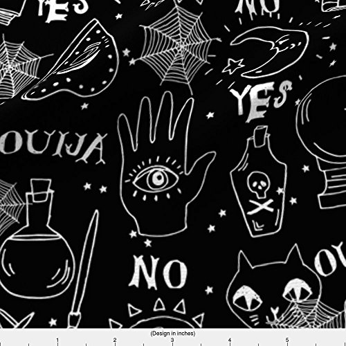 Ouija Fabric Ouija Cute Halloween Pattern October Fall Themed Fabric Black And White Print By Andrea Lauren by Andrea Lauren Printed on Basic Cotton Ultra Fabric by the Yard by - Halloween Themed Menu