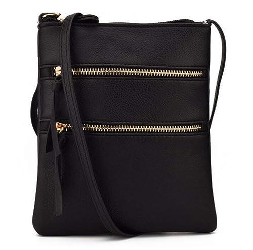 Fairybridal Triple Zipper Mutil Pocket Leather Messenger Bag For
