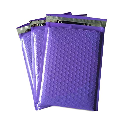 (100 Count #2 8.5 x 12 Inch Oknuu Packaging Supplies Purple Poly Bubble Mailers Self-Sealing Shipping Envelopes Plastic Mailing Bags 8.5