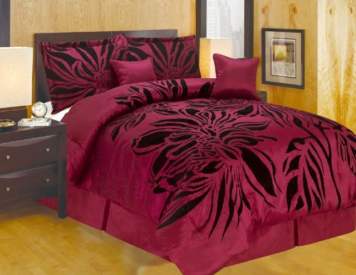 Black Flocking Printing - FineHome Modern Oversize Queen (90x94) Burgundy Red with Black Flocking Printing Comforter Set Bedding-in-a-bag