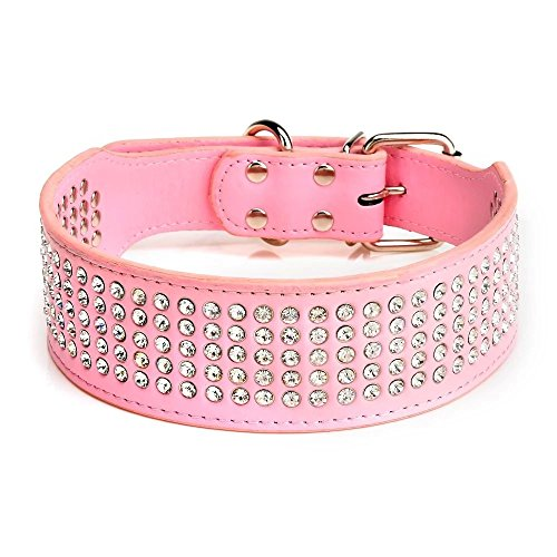 Berry Pet Rhinestones Dog Collars - 5 Rows Full Sparkly Crystal Diamonds Studded PU Leather - 2 Inch Wide -Beautiful Bling Pet Appearance for Medium & Large Dogs,15-18