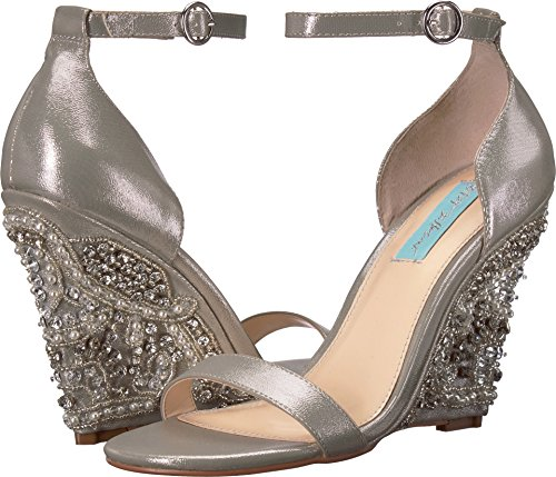 Betsey Johnson Wedges - Blue by Betsey Johnson Women's SB-Alisa Wedge Sandal, Silver, 7 M US