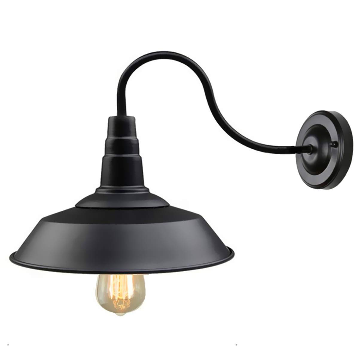 Details about retro black wall sconce lighting gooseneck barn lights industrial vintage