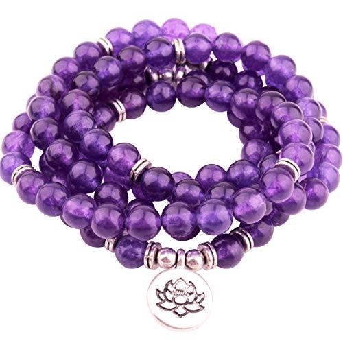 GVUSMIL 8mm 108 Mala Beads Amethyst Wrap Bracelets for Yoga Bead - Amethyst Wrap Necklace