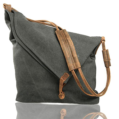 FXTXYMX Hobo Bags Canvas Leather Handbag Totes Shoulder Purse Fold Over Bag for Men and Women (Deep Gray)
