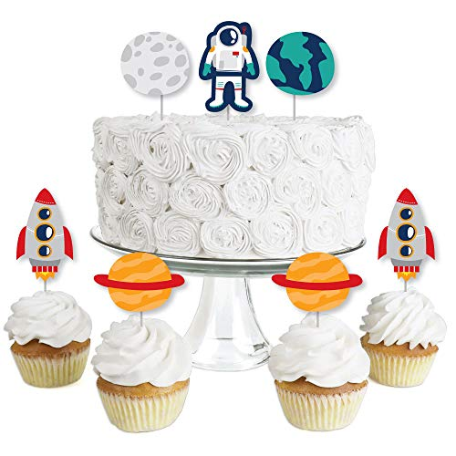 Blast Off to Outer Space - Dessert Cupcake Toppers - Rocket Ship Baby Shower or Birthday Party Clear Treat Picks - Set of 24