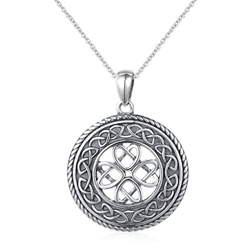 - 925 Sterling Silver Jewelry Oxidized Good Luck Irish Knot Celtic Medallion Round Pendant Necklace, 20 inch