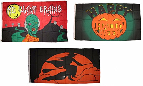 ALBATROS 3 ft x 5 ft Happy Halloween 3 Pack Flag Set #165 Combo Banner Grommets for Home and Parades, Official Party, All Weather Indoors Outdoors]()