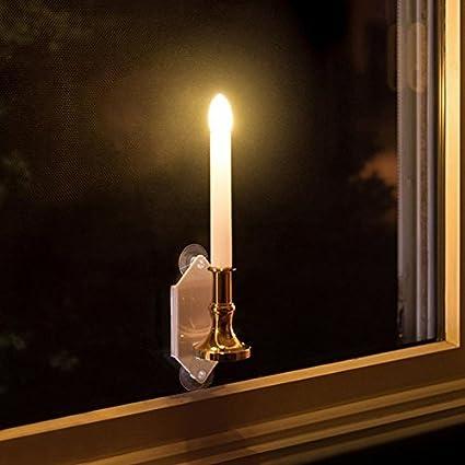 Amazon.com: Whitelotous 2 PCs Solar LED Flameless Window Candle ...