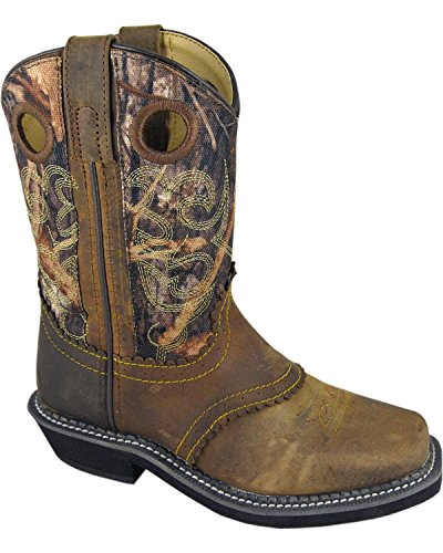 Smoky Mountain Boots Youth Boys Pawnee Brown/Camo Leather Square Toe 5.5 - Boots Kids Boys Cowboy