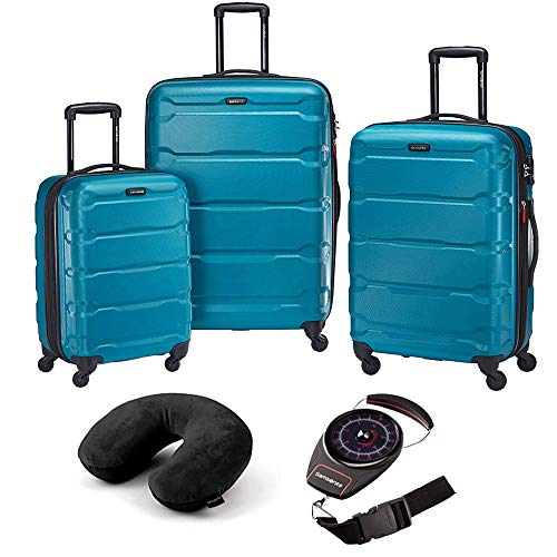 Samsonite 68311-2479 Omni Hardside Luggage Nested Spinner Set (20 Inch, 24 Inch, 28 Inch) - Caribbean Blue Bundle with Microbead Neck Pillow with Travel Pouch and Manual Luggage Scale (Samsonite Omni Pc Hardside 20 Inch Spinner)