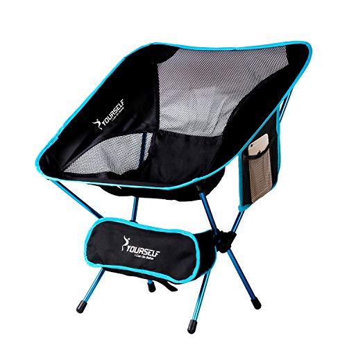 (SYOURSELF Portable Folding Camping Chair-Lightweight,Compact,Comfortable, Breathable Beach Travel Mesh Chairs,Heavy Duty-Perfect for Backpacking Hiking Picnic Outdoors Sporting with Carry Bag(Ablue))