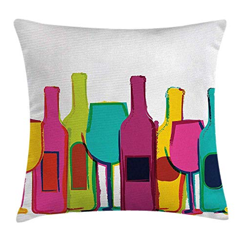 Remain Unique Pop Art Pop Art Wine Bottles and Glasses Bar Party Happy Hour Theme Retro Design White Pink Blue Green Flax Decorative Throw Pillow Cover for Couch Sofa Bed,Printed Square Pillowcase