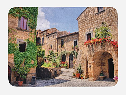 (Lunarable Tuscany Bath Mat, Italian Streets in Countryside with Traditional Brick Houses Old Tuscan Prints, Plush Bathroom Decor Mat with Non Slip Backing, 29.5 W X 17.5 W Inches, Multicolor)