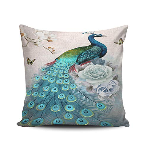 WULIHUA Pillow Covers Peacock Beautiful Flower and Tree Sofa Modern Pillow Case Decorative Throw Pillow Cases Double Sides Printed Square 24x24 Inches