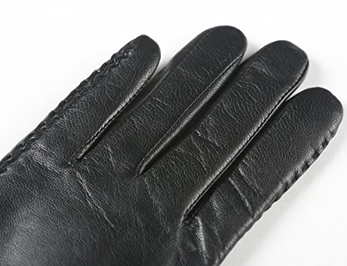 Ambesi Women's Fleece Lined Soft Nappa Leather Winter Gloves Black XL