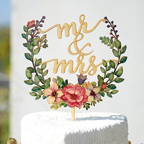 Floral Wreath Style Wedding Cake Topper Mr Mrs Wedding Decoration Wooden Cake Topper 156