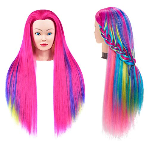 Mannequin Head Hair Styling Training Practice Cometology Doll Head Colorful Synthetic Fiber Hair Manikin Model Head Styling Hairdresser Training Head for Practice Cutting Braiding