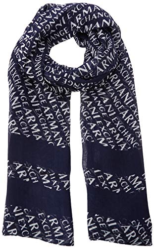 A|X Armani Exchange Women's Graphic Scarf, blue moon/white, One Size