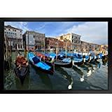 Gondolas on the Grand Canal Venice Italy Photo Art Print Framed Poster 18x12 by ProFrames
