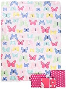 """Carter's 4-Piece Toddler Set, Pink/White Butterflies, 52"""" x 28"""""""