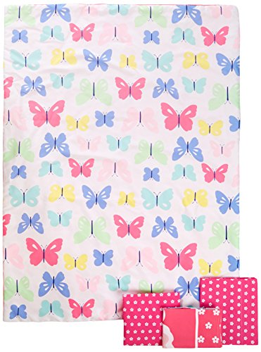 Crib Print Top Sheet - Carter's 4-Piece Toddler Set, Pink/White Butterflies, 52