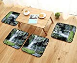 Leighhome Modern Chair Cushions Collection Rocky Waterfall Pond Runoff Scenic Nature Picture Accessories Green Olive White Convenient Safety and Hygiene W23.5 x L23.5/4PCS Set