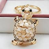 Libaraba Cute Full Opal Inlay Little Turtle Shaped Pendant Keychain Creative Birthday Gift Key Ring