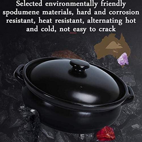 XHCP Casserole en céramique, Bol en Pierre de qualité supérieure avec Couvercle, pour la Cuisson du Pot Chaud Bibimbap et de la Soupe Arge Capacité du Pot Chaud Taille 5300 ML