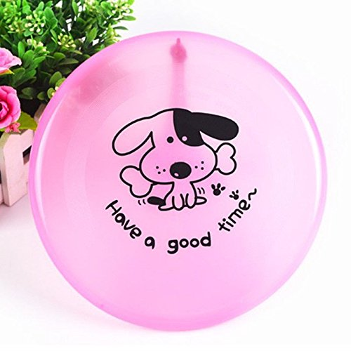 Dog Frisbee - Pink - Cute Pet Flying Disc, Tooth Resistant, Outdoor Training, Fetch Toy - 8'
