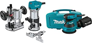 "Makita RT0701CX7 1-1/4 HP Compact Router Kit, Fixed and Plunge bases with 5"" Random Orbit Sander, Tool Case with BO5030K 5 inch Random Orbit Sander"