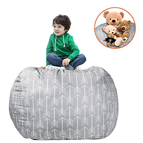 accmor Extra Large Bean Bag Chair Cover Toy Storage Home Stuffed Animal Storage Chairs, 38inch Store Bean Bag for Kids Toy Storage
